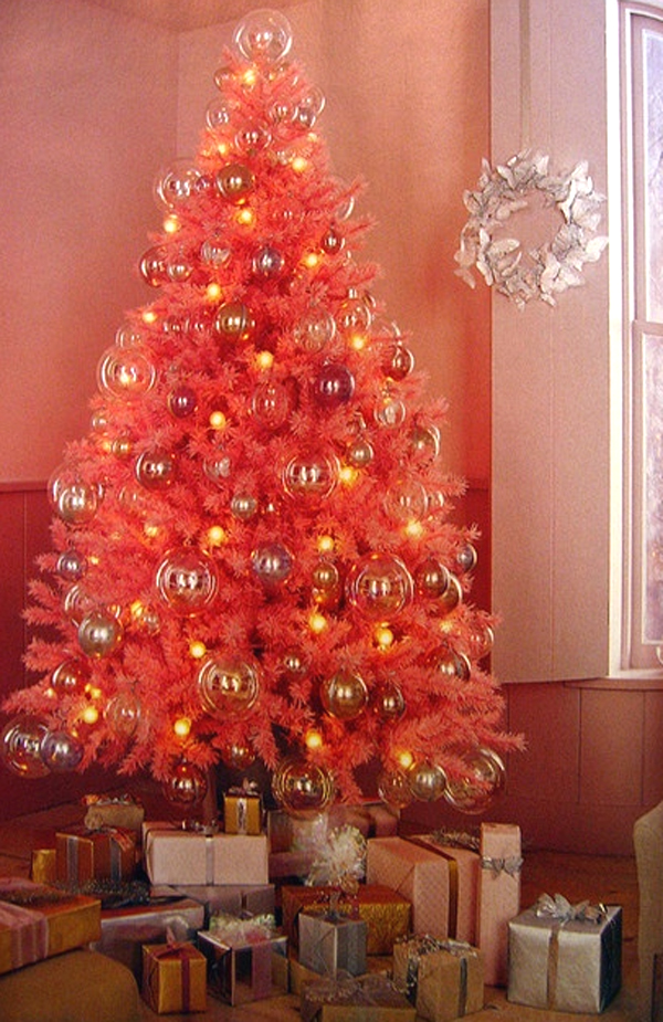 cute and beautiful pink christmas tree decoration ideas - Orange Christmas Tree Decorations