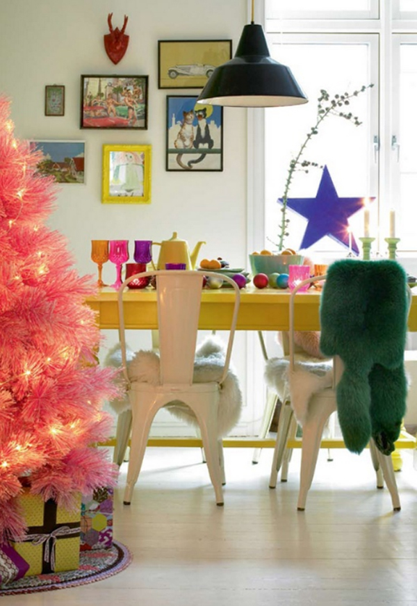 Cute And Beautiful Pink Christmas Tree With Dining Room Ideas