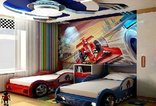 double-kids-bedroom-set-with-cars-design