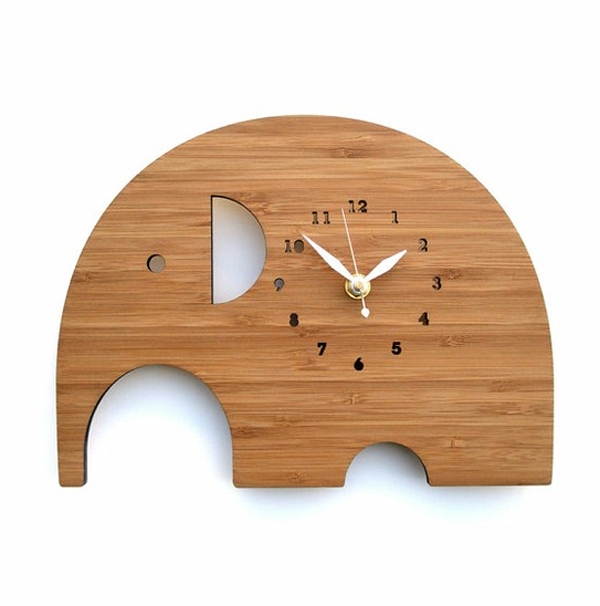 elephant wall clock with wooden ideas Wooden Clock Ideas with Animal Themed
