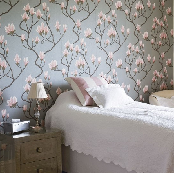 20 floral bedroom ideas with wallpaper theme home design for Wallpaper decoration for bedroom
