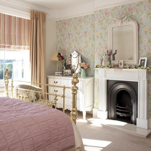 floral bedroom ideas with fireplaces 20 Floral Bedroom Ideas with Wallpaper Theme