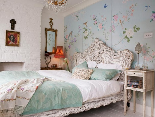 floral blue bedroom ideas 20 Floral Bedroom Ideas with Wallpaper Theme