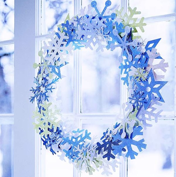 Fresh Blue Christmas Wreath For Door Decorations