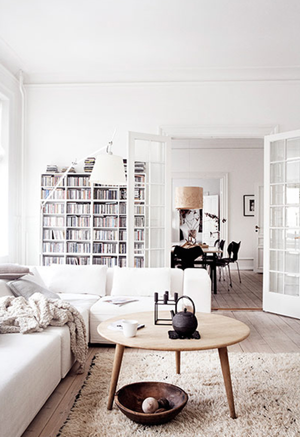 futuristic white apartment with casual style in danish | home