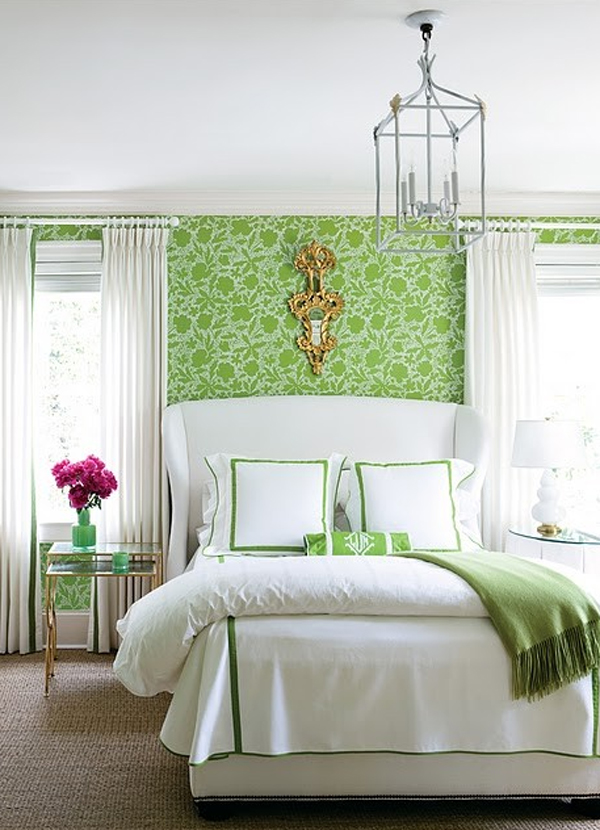 Green floral bedroom with wallpaper theme for Floral bedroom decor