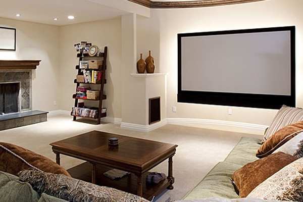 15 cool and minimalist home theater design with sofa for Minimalist items for home