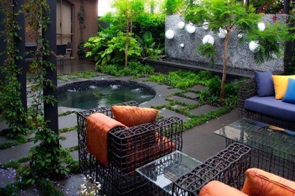 Minimalist outdoor furniture garden design ideas for Landscape decor ideas