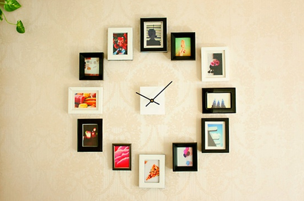 modern clock design with photo wall decorations