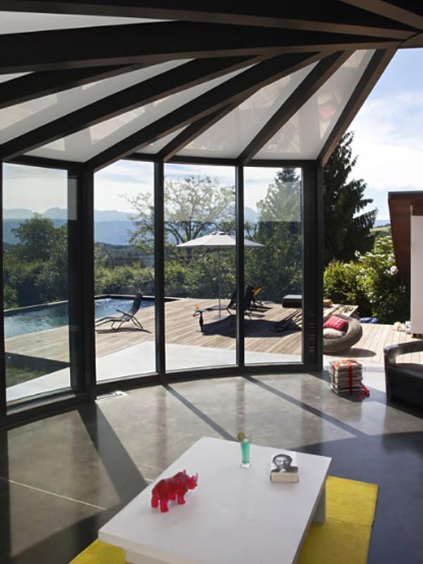 Modern glass veranda design by opensun for Modern house veranda designs