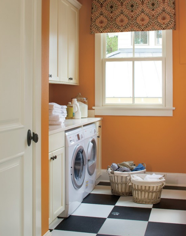 orange and colored laundry room decorating ideas