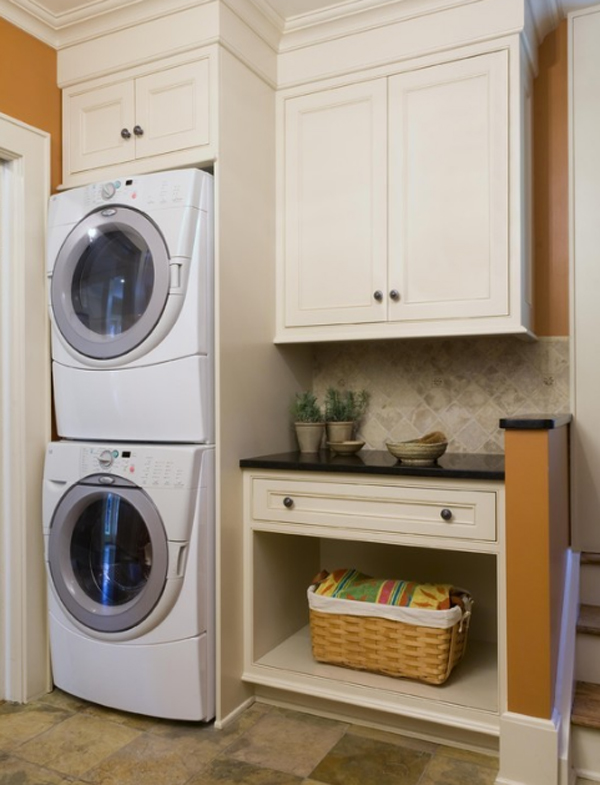 Orange And Minimalist Laundry Room Design Ideas 2013
