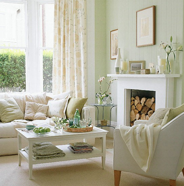 Pastel living room with fireplaces design for Living room ideas pastel