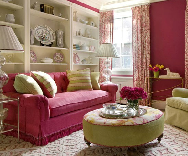 Raspberry and Green Living Room