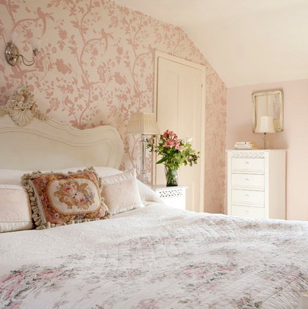 pink bedroom with floral theme 20 Floral Bedroom Ideas with Wallpaper Theme