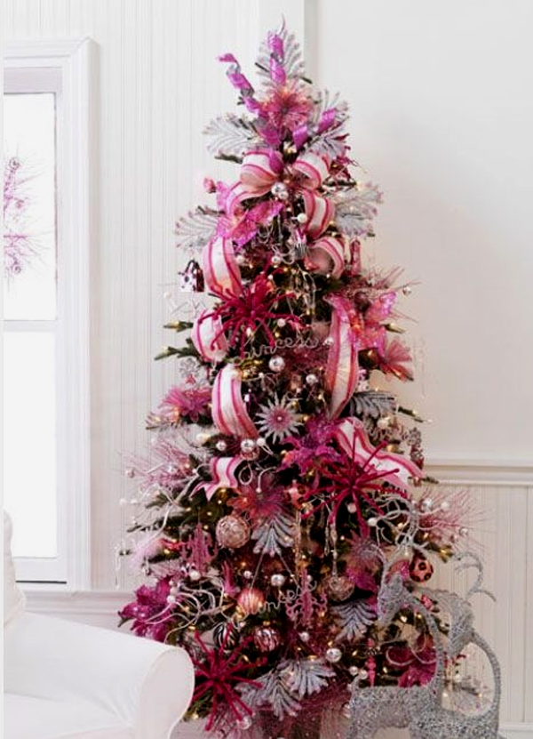 Pink christmas tree decorating ideas for Xmas tree decoration ideas