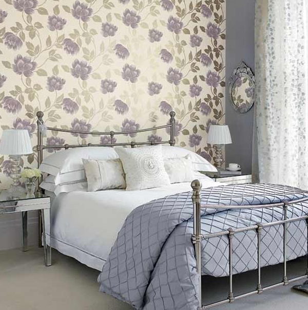 White bedroom design with floral decorations for Themed bedroom wallpaper