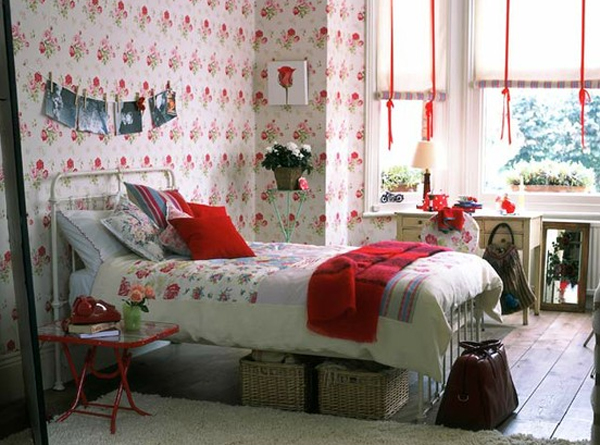 red-bedroom-design-with-floral-wallpaper