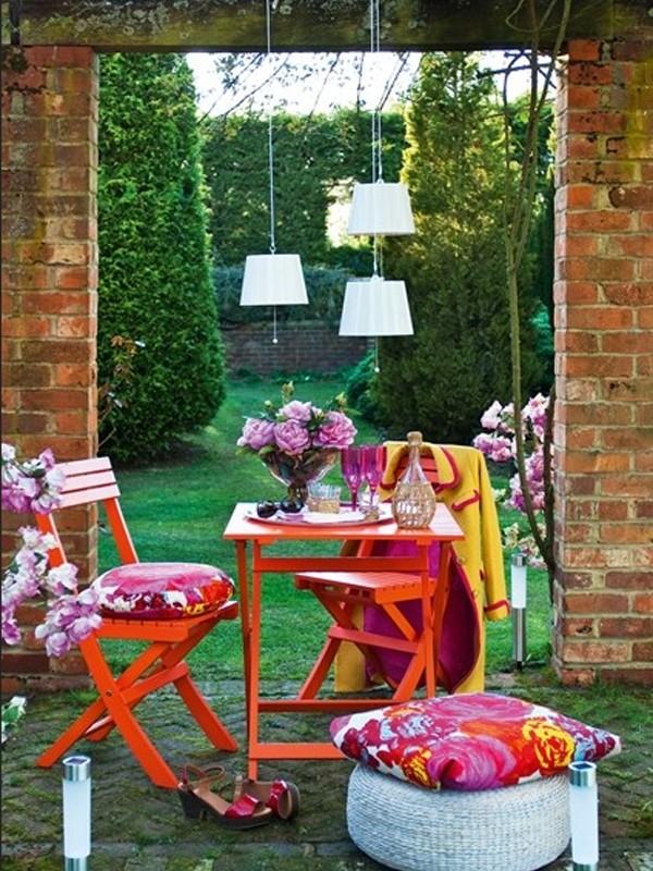 red outdoor furniture garden design