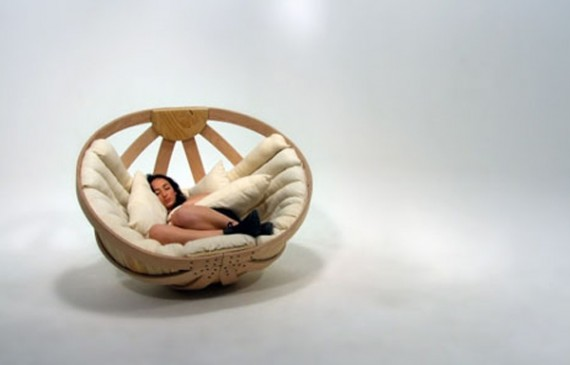Enjoy A Relaxing Time More Enjoyable With Creative Wooden Chair Ideas,  Wooden Chairs Semicircular Almost Resembles A Large Basket, Soft Foam In  Pair To ...