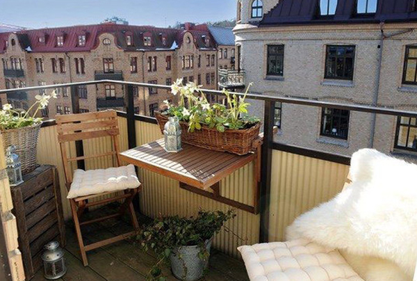 wood outdoor furniture for cozy balcony. Black Bedroom Furniture Sets. Home Design Ideas