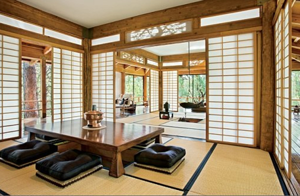 Traditional japanese house design with stunning forest for Living room design japanese style