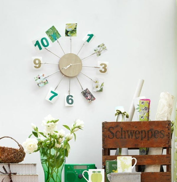 Wall Decoration Ideas With Ribbons : Modern clock with photo wall decor