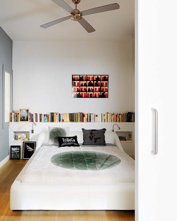 White and modern apartments with clever bookshelves ideas for Book bedroom ideas