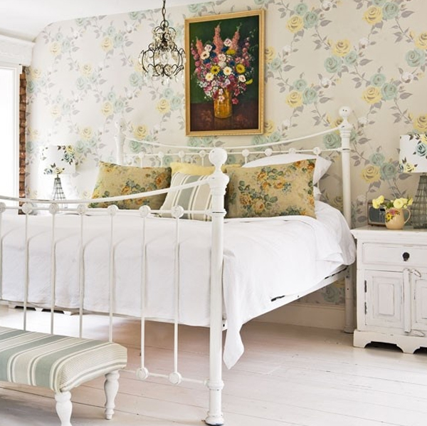 White bedroom design with floral decorations for Bedroom designs white