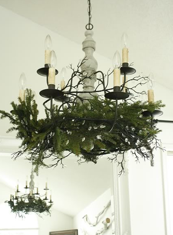 white christmas dining room ideas with creative chandeliers