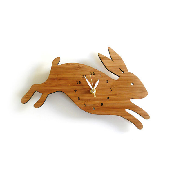wooden clock ideas with rabbit theme Wooden Clock Ideas with Animal Themed