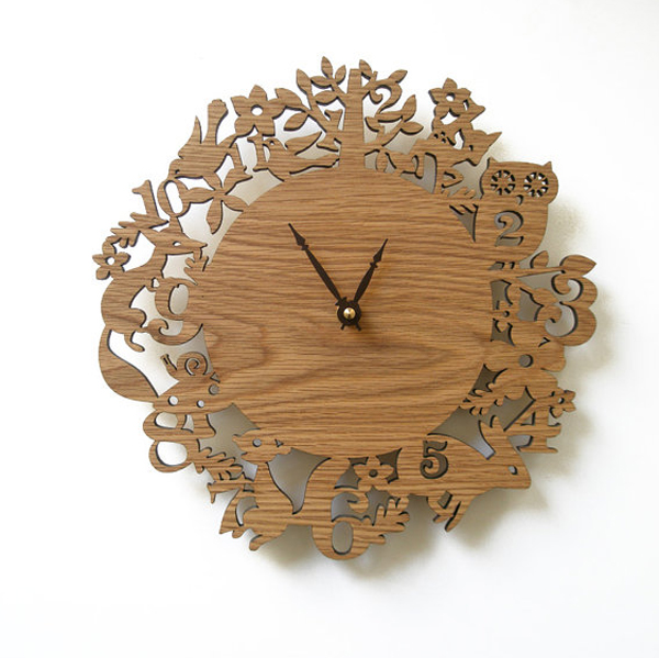 wooden wall clock decor Wooden Clock Ideas with Animal Themed