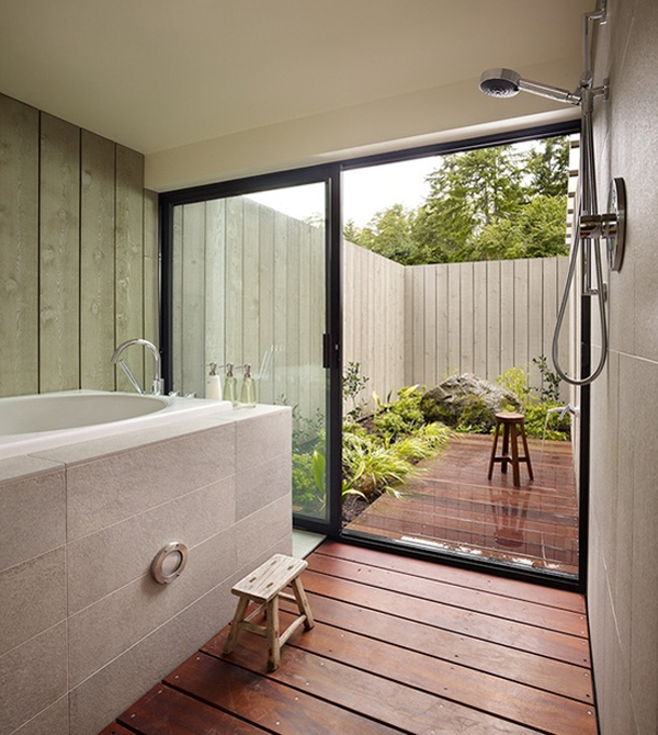 Awesome outdoor bathroom furniture design for Indoor outdoor bathroom design ideas