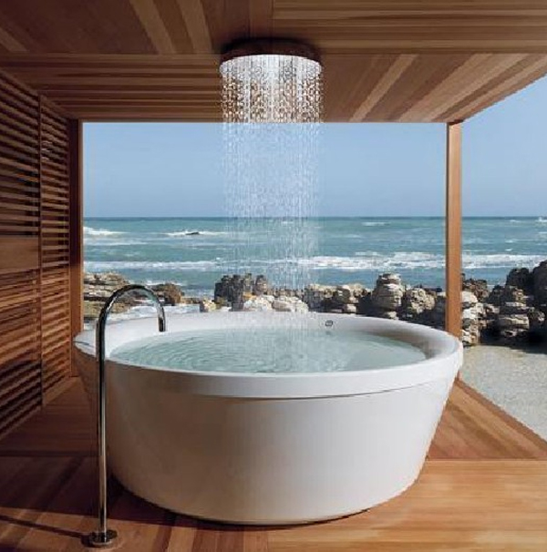 Awesome bathroom design with stone bathtubs for Bathroom designs outside