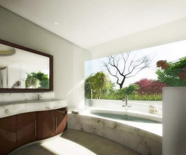 Outdoor Bathroom Designs tropical outdoor bathroom with stone tub 15 Awesome Outdoor Bathroom Design Ideas