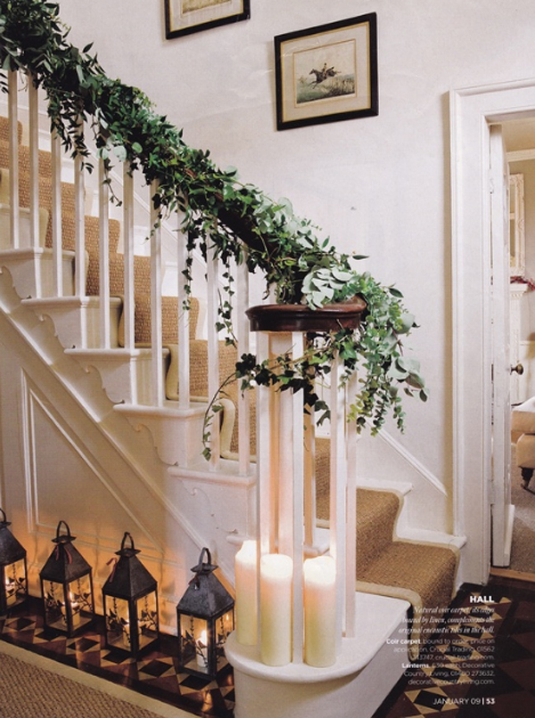 beautiful christmas decoration for stair ideas
