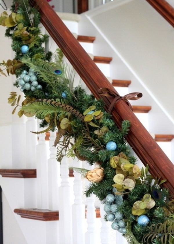 Beautiful Christmas Stairs With Flower Ornaments Home Design And