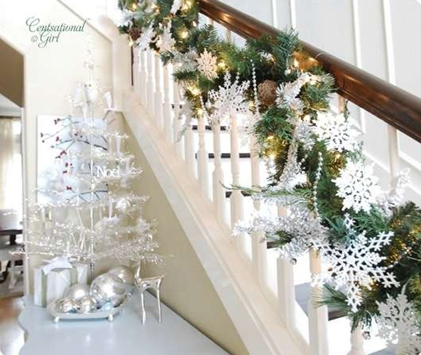 beautiful white christmas decorations for stair