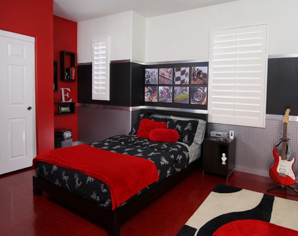 internal edges red and black bedroom design board the Schluter