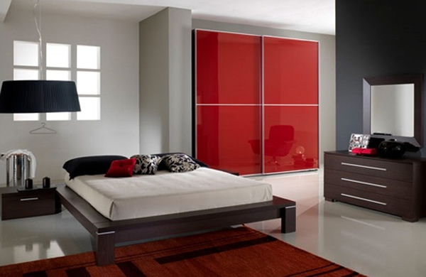 Black and White Bedroom with Red Accents 600 x 390