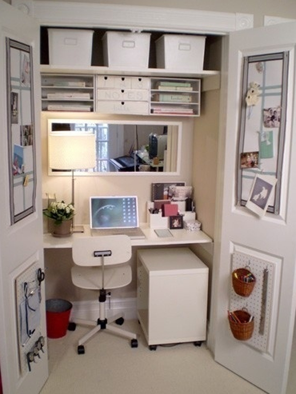 Cool And Stylish Home Office In A Closet Ideas Home Design