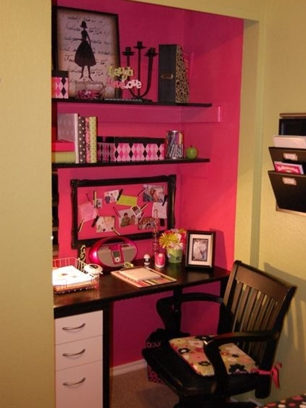 Cool and cute office in closet ideas Closet home office design ideas