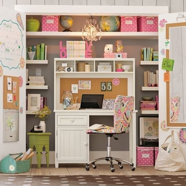 Marvelous 20 Cool And Stylish Home Office In A Closet Ideas