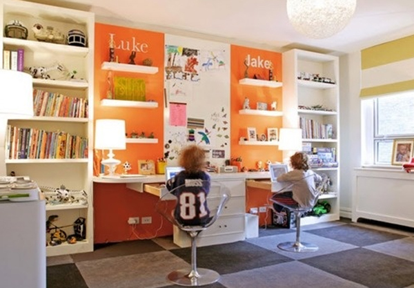 cool and wonderful kids room design with office design