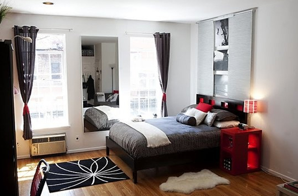 Cool black and red bedroom design for Red and black bedroom designs