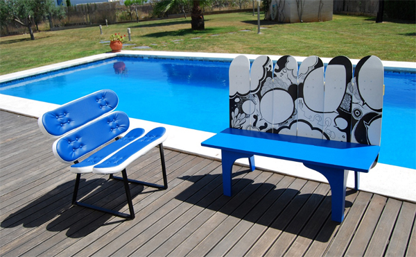 cool blue furniture design with skateboard ideas - Skateboard Design Ideas