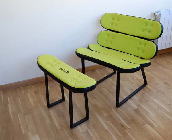 cool skateboard chair design from skate home Cool Furniture Ideas With Skateboard Style From Skate Home
