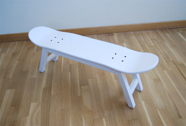 cool white skateboard chairs from skate home Cool Furniture Ideas With Skateboard Style From Skate Home