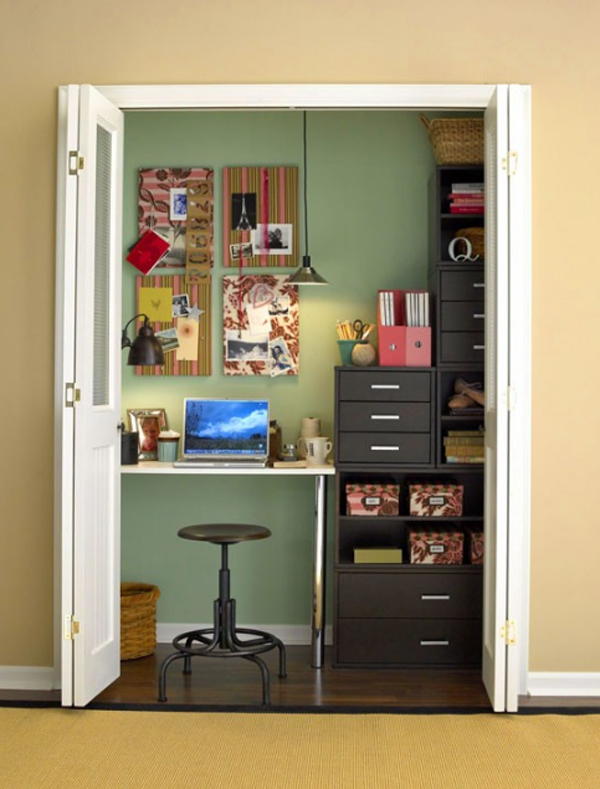 Cool And Stylish Office Desk In Closet Decoration