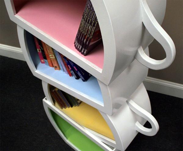 Creative Kids Bookshelf Design With Stacked Teacup Home